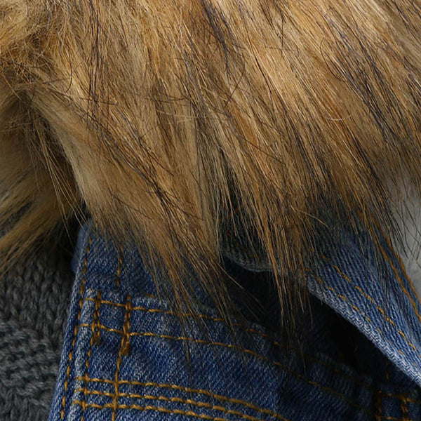 Winter Warm Jeans Button Knit Sleeve Cowboy Denim Jacket
