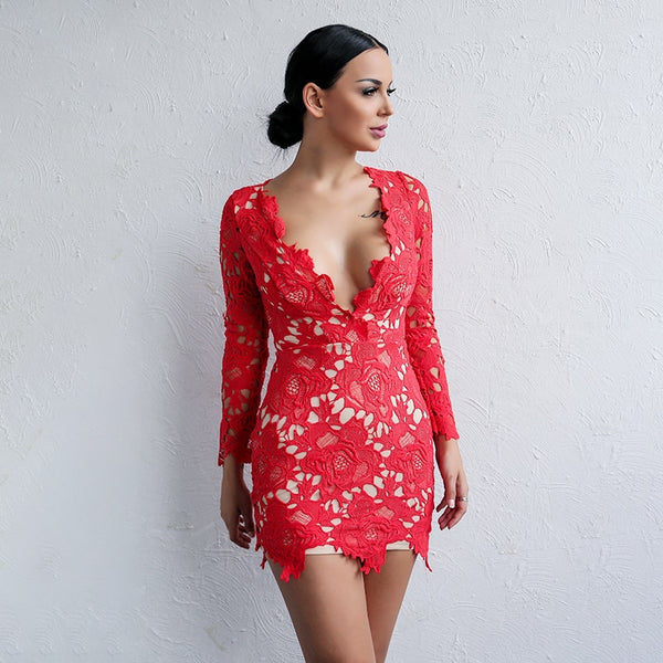 Lace Sexy Ladies Hollow Out Long Sleeve V Neck Elegant Above Knee Dress (2 Colours)