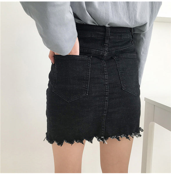 High Waist Raw Frayed Denim Black Skirt