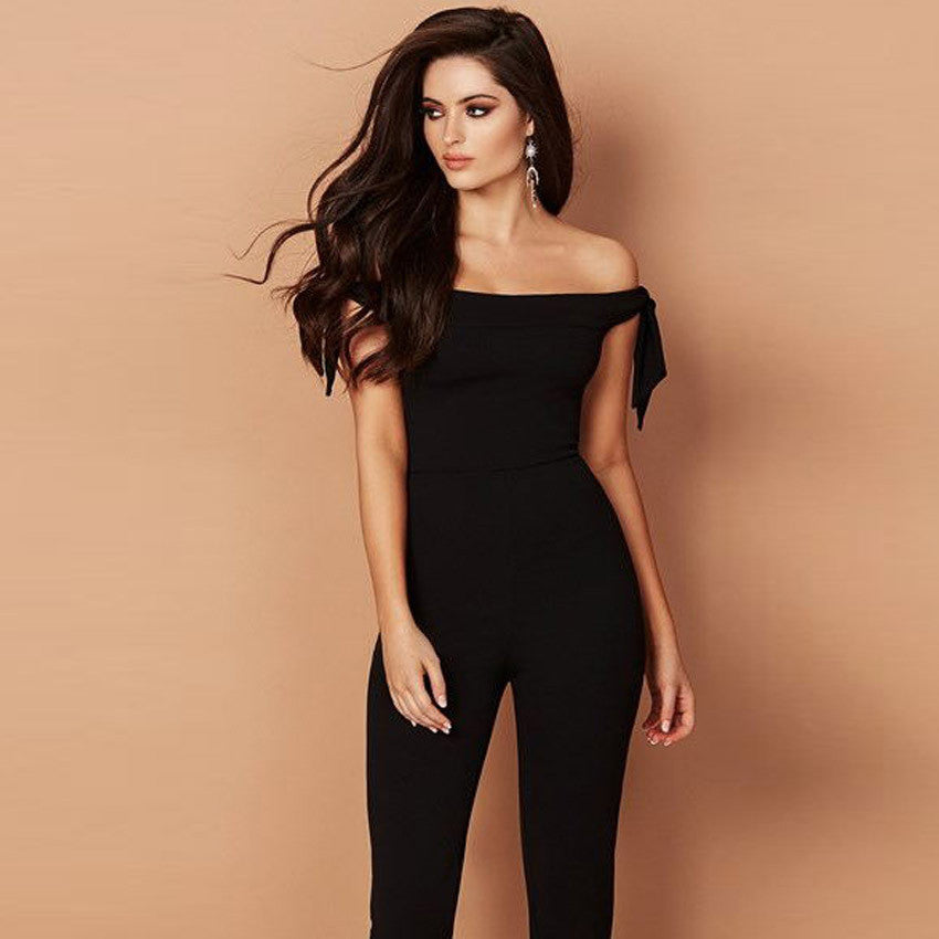 Ladies Long Sleeve Off The Shoulder Sleeveless Playsuit Casual Clubwear Jumpsuit