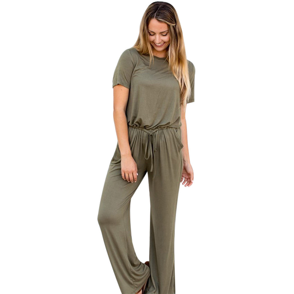 Casual Solid Short Sleeve  Wide Leg Pants Drawstring Cocktail Jumpsuit Romper Playsuit - The Clothing Company Sydney