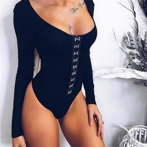 Sexy Women O Neck Long Sleeve Rivet Bodysuit