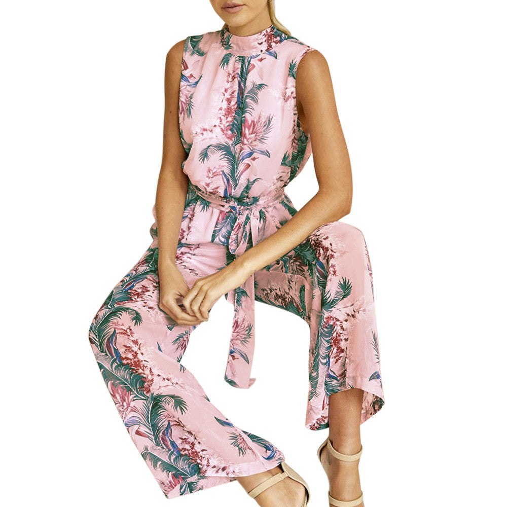Chiffon Floral Print Backless Bandage Wide Leg Pants Sleeveless Playsuit Jumpsuit Romper - The Clothing Company Sydney