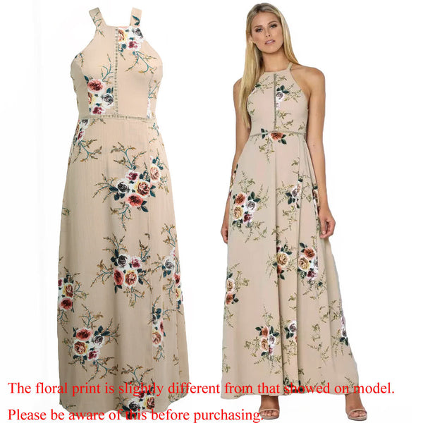 Chiffon Floral Print Halter Sleeveless Split Backless Hollow Out Maxi Dress - The Clothing Company Sydney