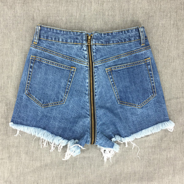 Back Zipper Cotton Denim Summer High Waist Fringe Jeans Ripped Shorts - The Clothing Company Sydney