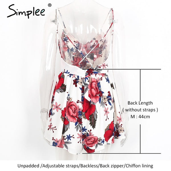Summer beach boho floral print overalls Backless  romper