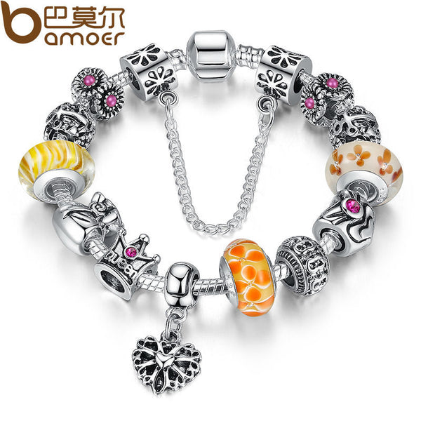 Queen Jewelry Silver Charms Bracelet & Bangles With Queen Crown Beads Bracelet