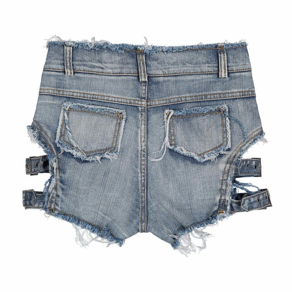 Vintage Ripped Hole Fringe Bandage Denim Shorts