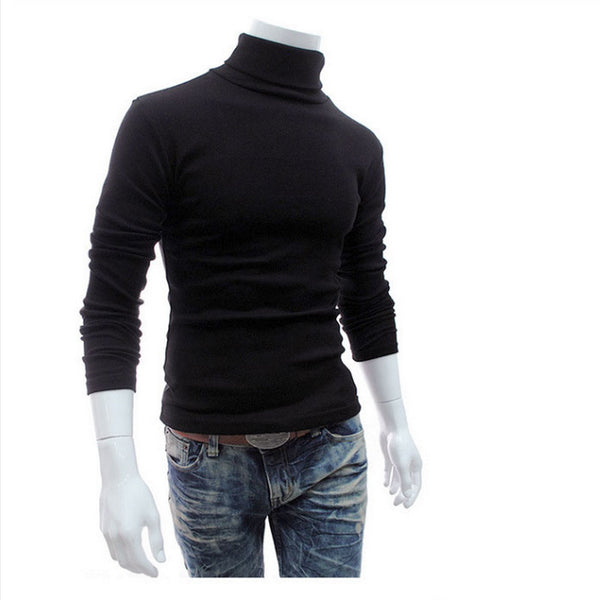 Men'S Turtleneck Solid Color Casual Slim Fit Knitted Sweater Pullover