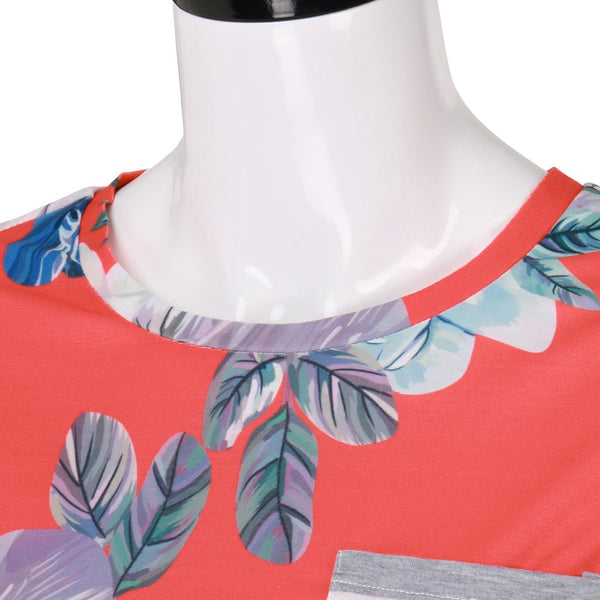 O-Neck Womens Short Sleeve Splicing Striped Floral T Shirt Top Blouse