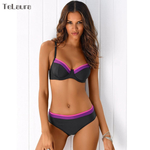 2 Piece Print Low Waist Push Up Plus Size Swimwear Summer Beach Wear SwimSuit