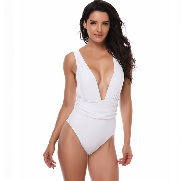 Deep V Neck Backless 1 Piece Swimsuit Swimwear