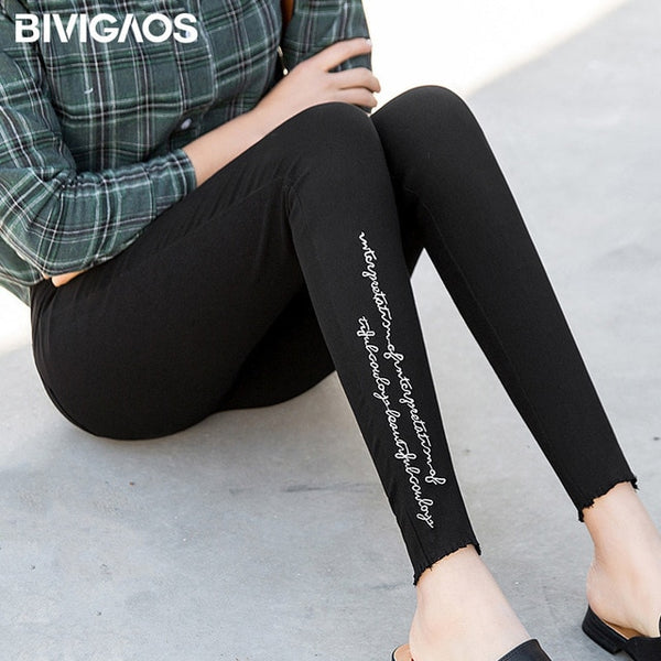 Spring Embroidered Letters Washed Jeans Leggings Skinny Slim Woven Pencil Pants Jeans Jeggings