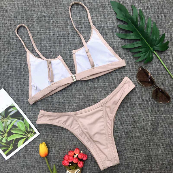 2 Piece V Neck Bra Low Waist Brazilian Bikini Swimwear Set