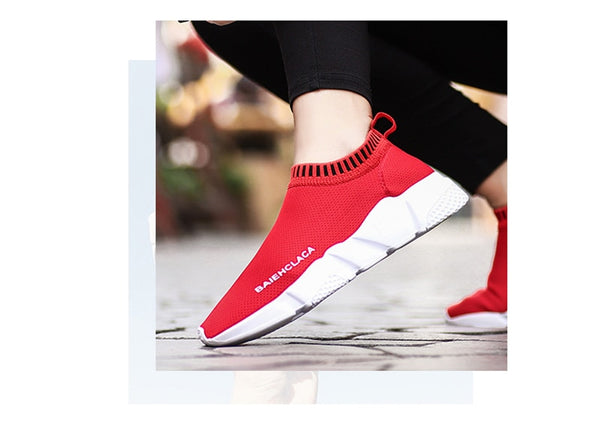 Vulcanized Ladies Red & Black Casual Breathable Walking Mesh Flat Shoes