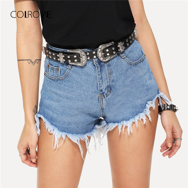 Blue Ripped Basic Button Fly Mid Waist Streetwear  Denim Shorts