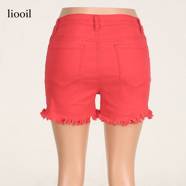 Black White Red Denim Cotton High Waist Pocket Skinny Jean Shorts