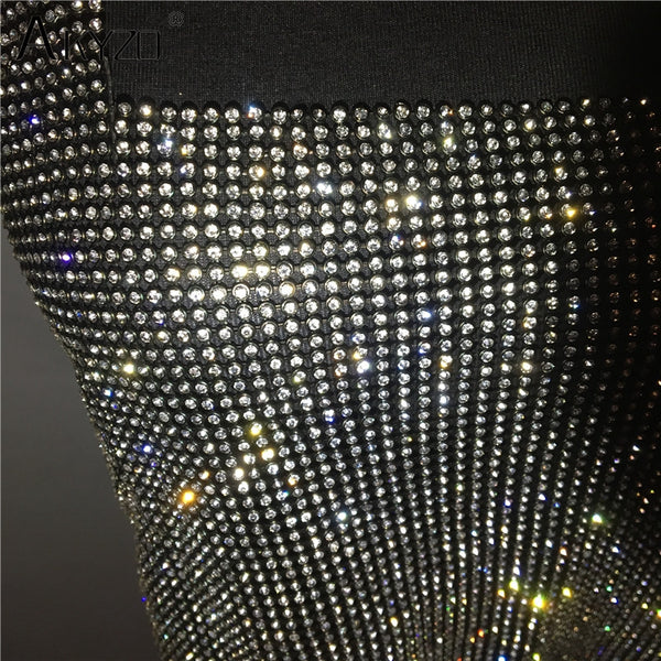 Backless Rhinestone Metal Crystal Diamonds Sequined Night Club Party Wear Crop Top