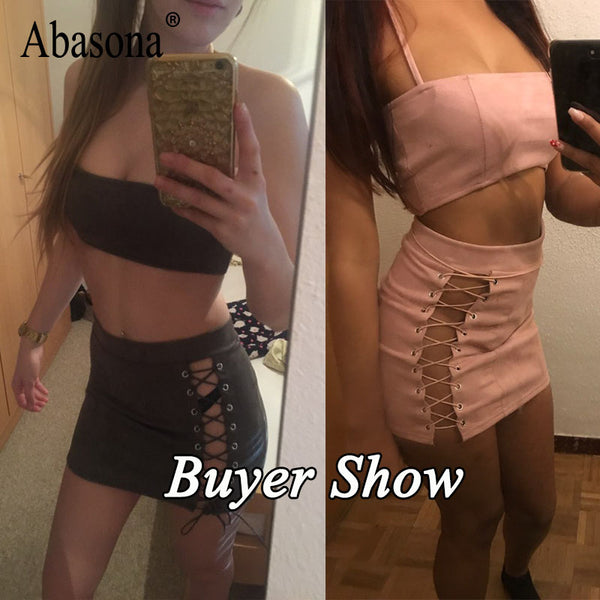 Lace Up Two Piece Suede Sexy Party Club Wear Halter Bralette Top Bodycon Mini Skirt