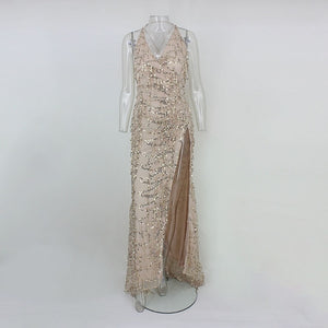 Evening Party Club Elegant Gold Sequined Long Evening Maxi Dress