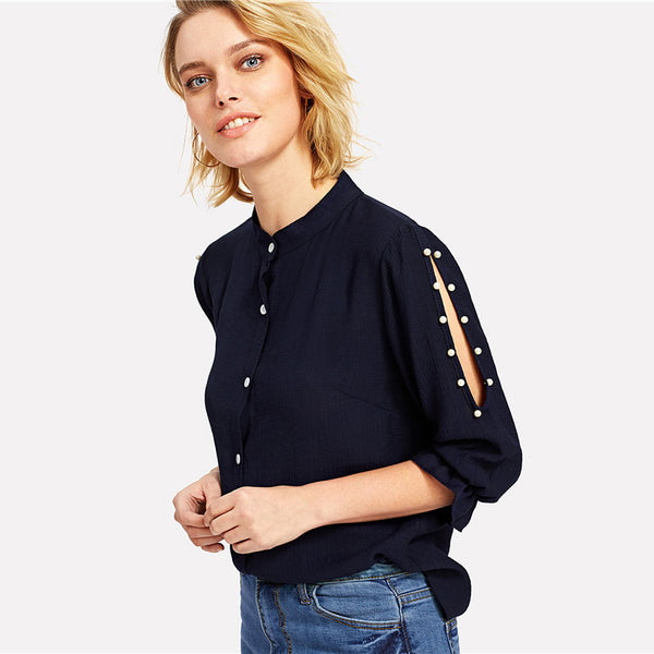 Stand Collar Pearl 3/4 Sleeve Split Shoulder Plain Top Navy Casual Button Shirt Blouse