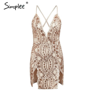 backless strap mesh sequin party Split embroidery mini Deep v neck bodycon short dress
