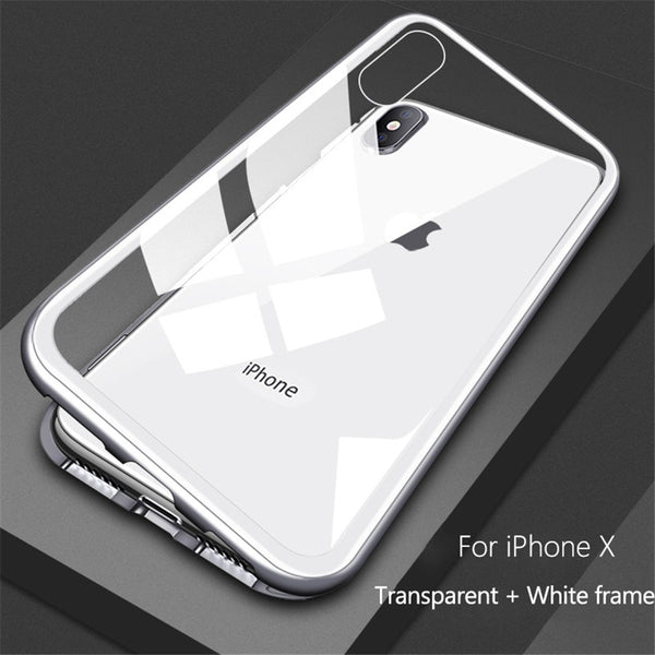 Ultra Magnetic Adsorption Phone Case For iPhone Luxury Magnet Glass Cover