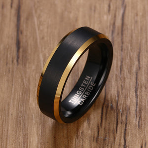 Men's Black Gold Color Tungsten Ring  Carbide Engagement Rings Jewelry Matte Brushed Wedding Band USA Size 8 to 12