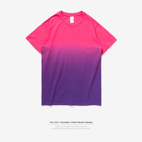 Men's Hip Hop Dip Dye Cotton O Neck Short Sleeve T Shirt