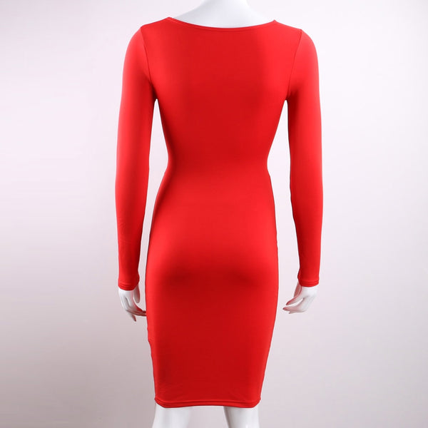 Long Sleeve Elastic Cotton Warm Party Sexy Midi Pencil Club Bodycon Bandage Dress