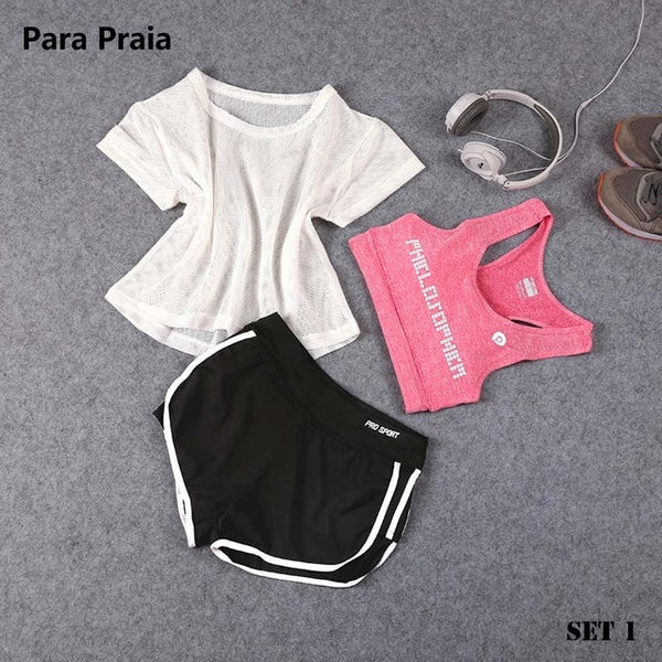 Three Piece Yoga Set Sport Shirt for Women Sports bra Fitness Flare Pants Tracksuit Gym Leggings in 15 styles