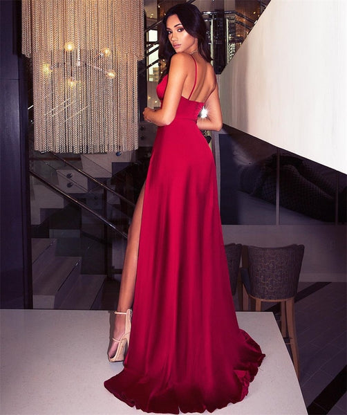 Deep V-Neck Sleeveless Spaghetti Strap Backless Side High Split Sexy Long  Maxi Party Dress