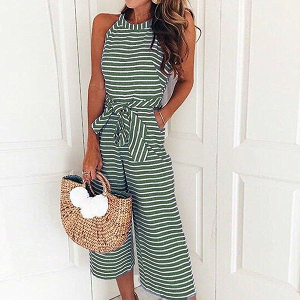 Summer O-neck Bowknot Pants Pockets Sleeveless Striped Jumpsuit