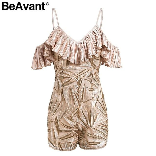 Embroidered vintage Off shoulder summer beach High waist ruffle sequin romper Playsuit