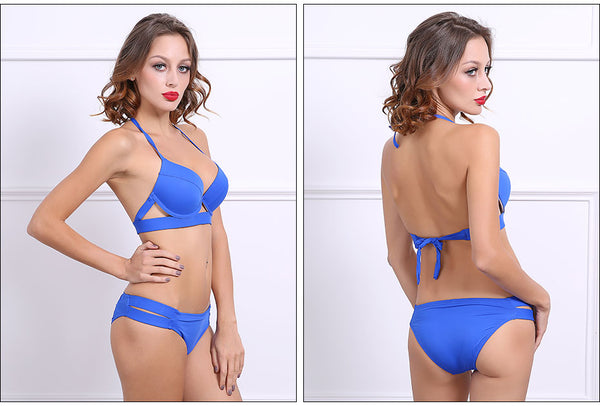 2 Piece Halter Neck Low Waist Split Band Bikini Swimsuit Swimwear