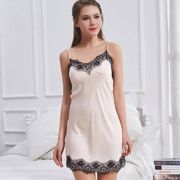 Satin Lace Sleepwear Padded Nightwear Nightgown Night Dress Slip