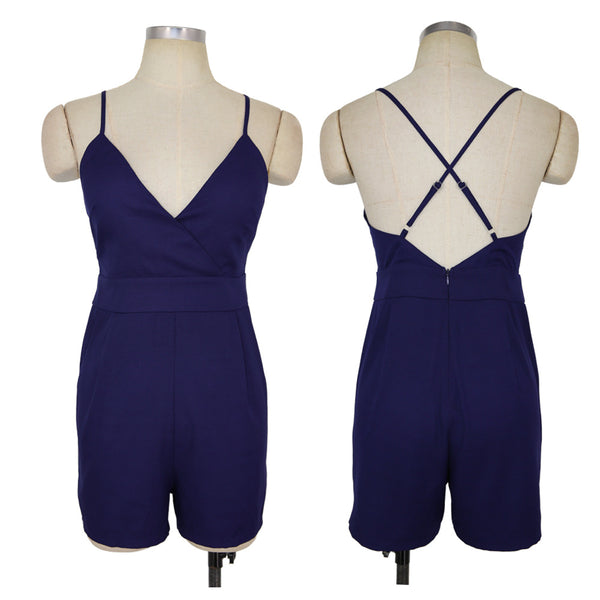 Bandage V Neck Cross Back Skort Romper Sleeveless Halter Playsuits