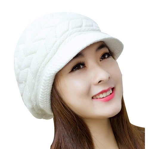 Ladies Knit Snapback Wool Warm Hat Beanie