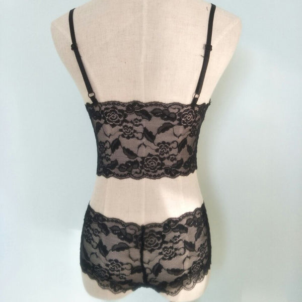 2 Piece Lace Bralette and Boy Short G String Thong