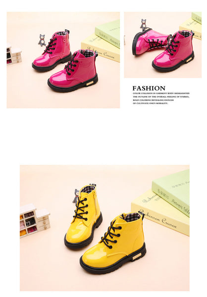 Boys and Girls PU Leather Warm Winter Boots