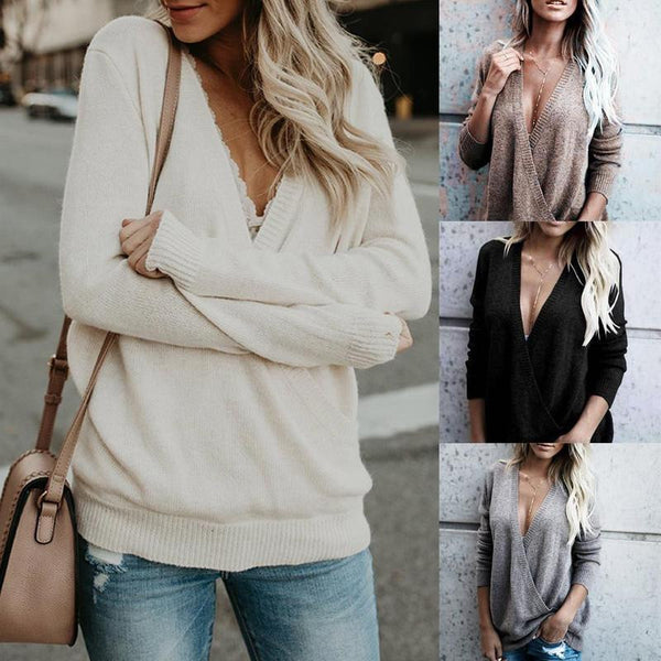 Sexy V Neck Cross Stitching Fashion Solid Color Sweater Pullover Jumper