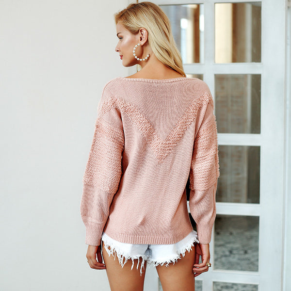 Lantern sleeve Front v shape loose casual pullover Jumper Sweater