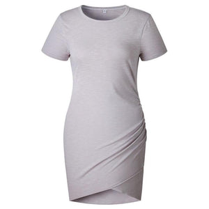 Ladies Asymmetric Round Neck Short Sleeve Dress