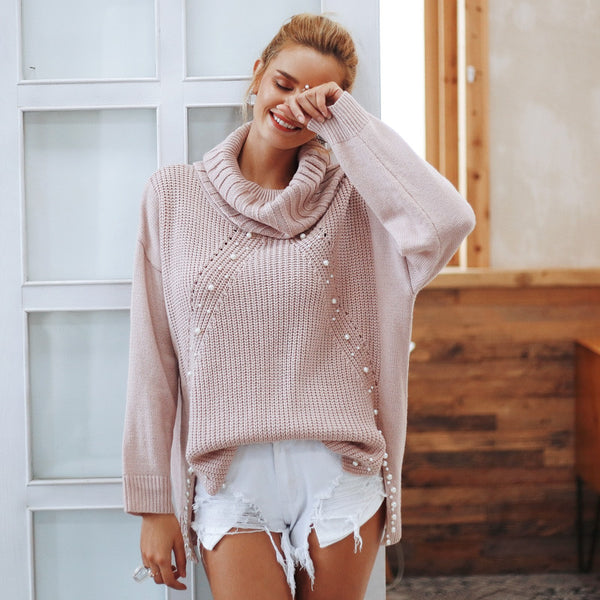 Beading turtleneck plus size Loose split casual knitted pullover Autumn winter long sleeve jumper