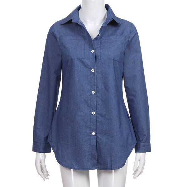 Women's Denim Solid Pocket Button Down Shirt Long Sleeve Jeans Top Blouse