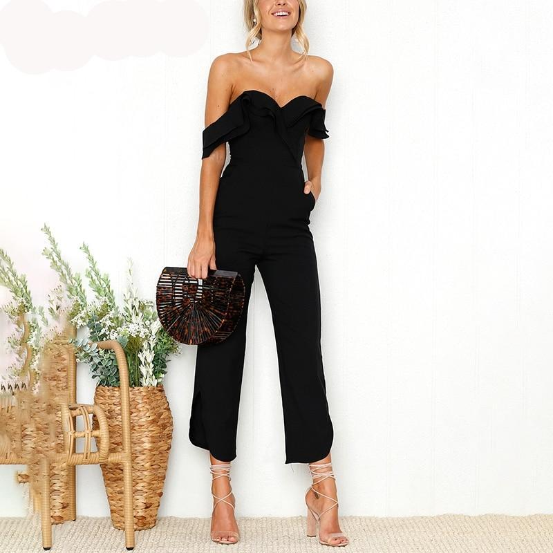 Sexy Backless off shoulder black Tiered ruffle high waist jumpsuit romper