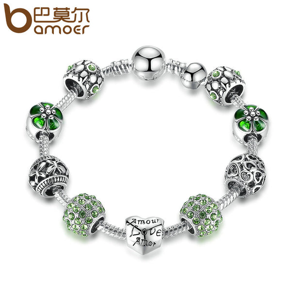 Antique Silver Charm Bracelet & Bangle with Love and Flower Beads 4 Colors
