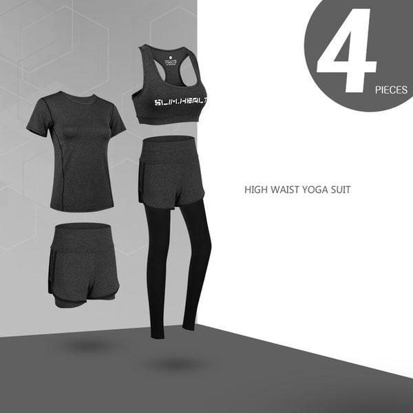 Yoga Gym Fitness Outdoor Running Jogging Training Workout Quick Dry ActiveWear 5 Piece Set