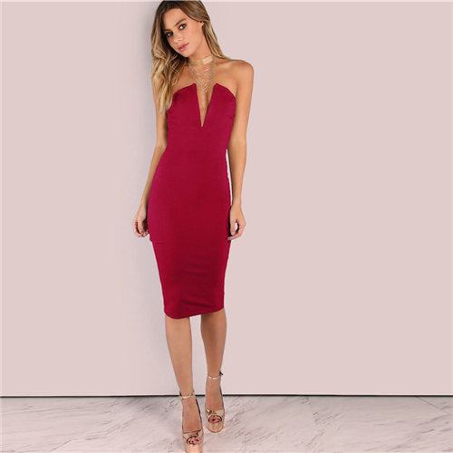 Backless Deep V Strapless Off Shoulder Bodycon Party Night Out Midi Dress