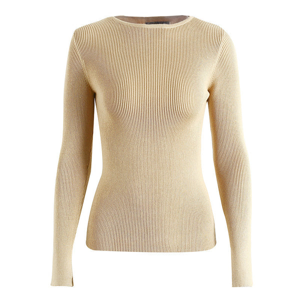 White knitted sweater elastic long sleeve knitting pullover Jumper